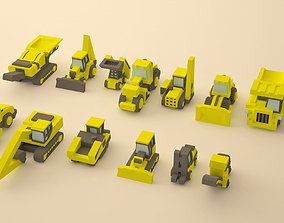 Set of construction machinery low-poly 3D print model