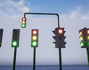 3D model Traffic Lights Game Ready