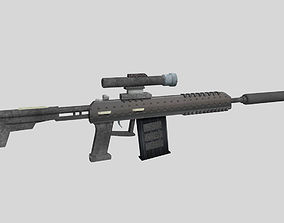 no brand low poly sniper rifle 3D model