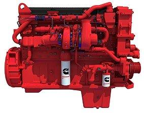 3D model Red Heavy-Duty Diesel Engine Cummins