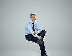 3D model Sitting Business Man Wearing Red Tie