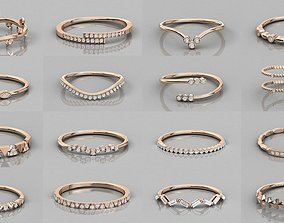 Women Wedding Engagement Band 3dm stl render detail