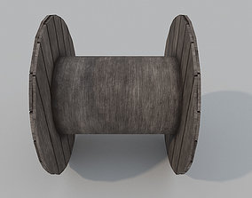 Wooden Cable Reel PBR 3D asset