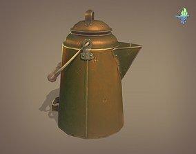 Copper Coffee pot 3D asset game-ready