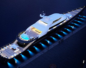 drone 3D model megayacht day and night scenes