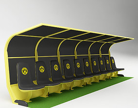 Soccer Bench for Coach Reserve Players 03 3D