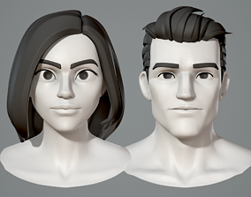 3D model Male and female cartoon characters base