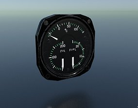 FUEL-OIL PRESSURE and TEMPERATURE GAUGE 3D asset