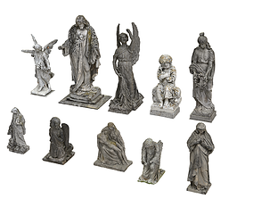 10 Cemetery Statues Collection 3D model VR / AR ready