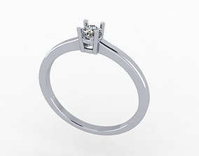 Thin Solitaire Dainty Engagement Ring 3D print model