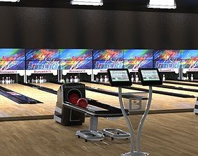 bowling alley 3D model low-poly