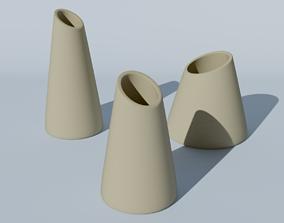 Set of 3 decoration vases for flowers for 3d