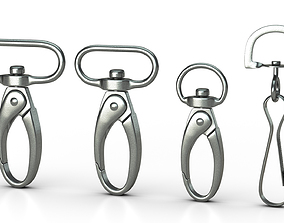 Set of 4 Metal Carabiner LowPoly 3D model