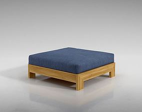 Brown Wood Cushioned Ottoman 3D model