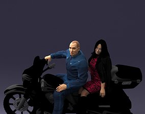 3D Man and woman on black motorcycle 0094