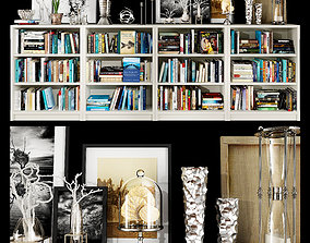 decor 3D White bookshelf set
