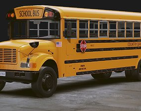 Realistic School bus 3D model rigged