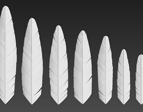 Feather seven different sizes 3D model