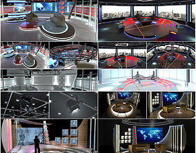 Virtual TV Studio Chat Sets Collection 12 3D