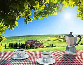 Italian Coffee Cup and Moka 3D model