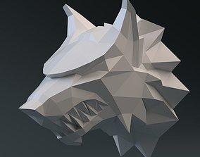 Wolf head 3D print model 3D asset