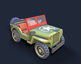 3D model Lowpoly cartoon PBR WW2 army jeep vehicle