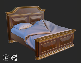 3D model Vintage Furniture Bed PBR Game Ready