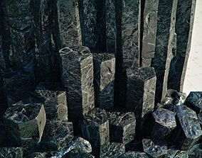 3D asset Basalt Columns and Rocks Kit PBR - Obsidian