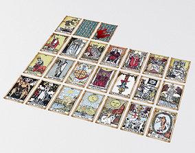 3D asset Old Tarot Cards - Major Arcana - Tinted