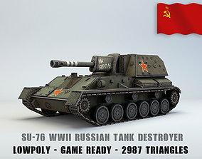 3D model Low Poly SU-76 tank destroyer