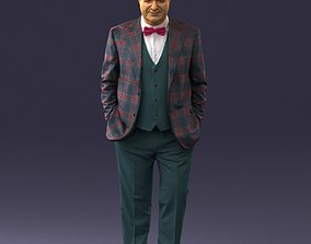 3D model Man in a green suit and checked jacket 0289