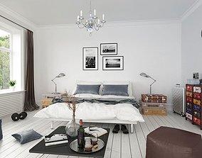 3D model Scandinavian Style Bright Bedroom