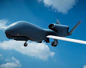 3D model Low Poly PBR RQ-4B Drone