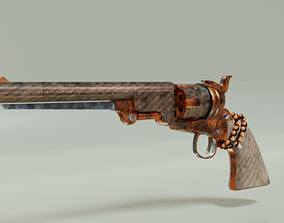 Revolver with Rosary beads 3D model