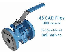 3D Two Piece Manual Ball Valves - DIN Flanged Ends -