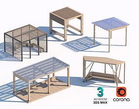 3D wooden summerhouse set