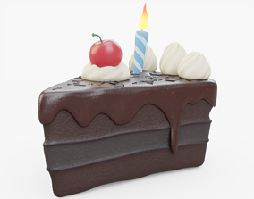 3D Chocolate Birthday Cake Slice