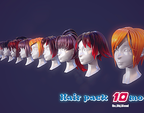 Hair Pack 10 Models low-poly