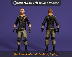 3D model Cartoon soldier military