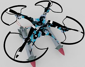Military drone with rockets 3D model