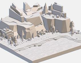 Isometric style lake grey mountain landscape 3D model