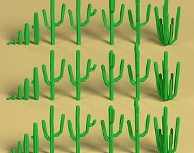 3D model Low poly Cacti Pack