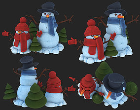 two snowmen with decorative Christmas trees 3D model