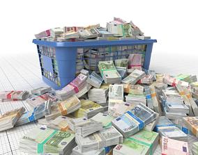Euro Money Banknote piled in Basket 3D model