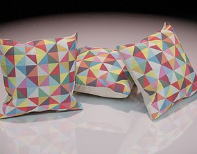 Contemporary colourful cushion design 1 3D asset