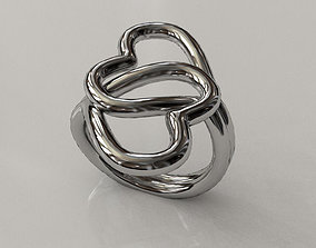 Knotted Hearts Ring 3D print model