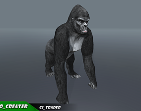 Lowpoly Gorilla Rigged 3D Model animated VR / AR ready