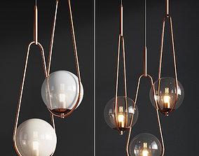 Pendant Lamp Loop Brass Kare 3D