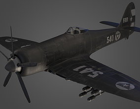 Hawker Sea Fury Airplane Military 3d Model realtime