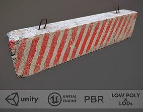 Concrete Roadblock Barrier 3D model realtime